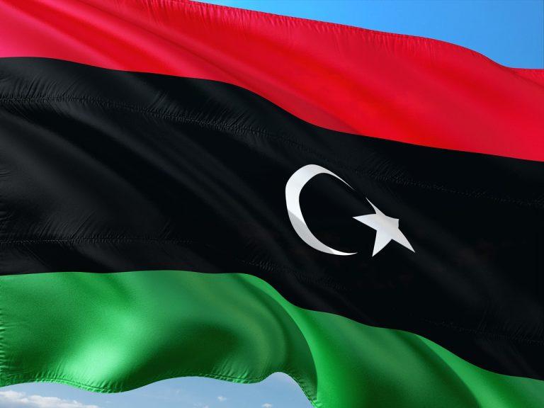 international, flag, libya