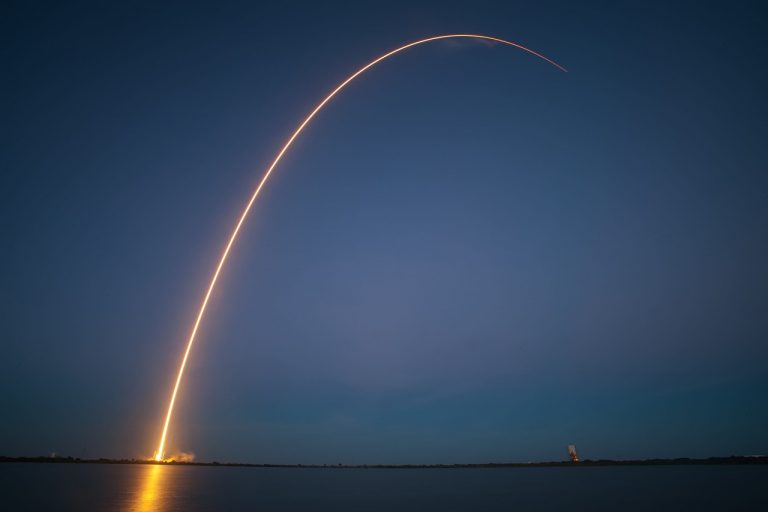 rocket launch, night, trajectory